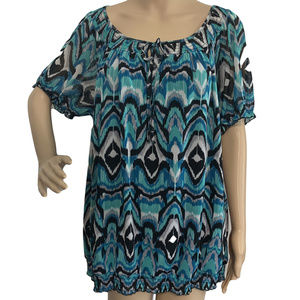 INC Gauze Ikat Stretch Top 1X